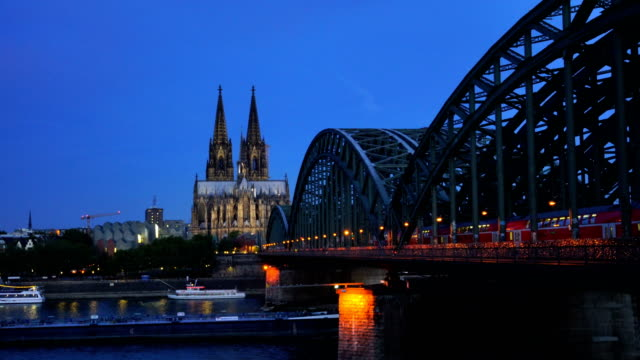 view of downtown cologne city skyline form top view - embankment stock videos and b-roll footage