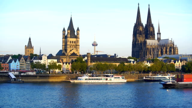 view of downtown cologne city skyline - river rhine stock videos & royalty-free footage