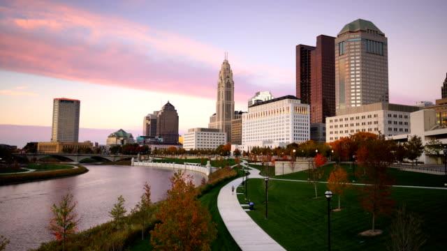 View of downtown Columbus Ohio Skyline at twilight