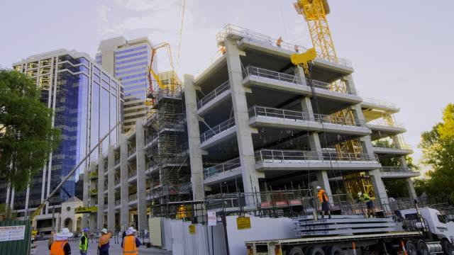 MS T/L ZI View of Downtown construction site / Perth, Western Australia, Australia