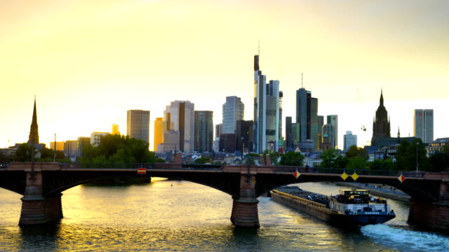 View of downtown Frankfurt city skyline