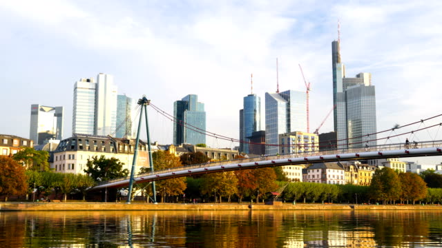 view of downtown frankfurt city skyline - financial building stock videos and b-roll footage