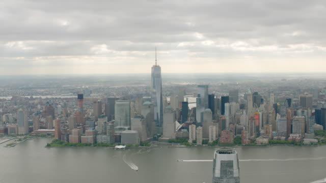 vidéos et rushes de ms aerial view of downtown from across hudson / new york city  - 50 secondes et plus