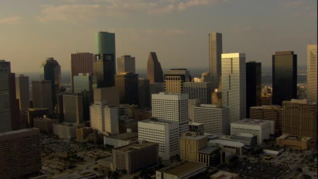 ws pov aerial view of downtown houston city / houston, texas, usa - texas stock-videos und b-roll-filmmaterial