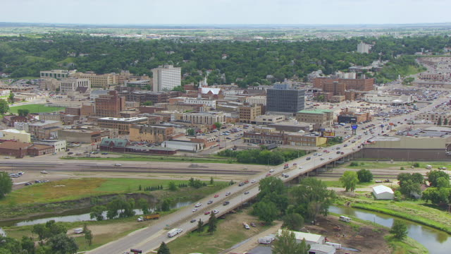 WS AERIAL View of Downtown / Minot, North Dakota, United States