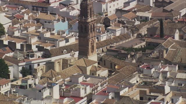 WS ZI ZO AERIAL View of downtown of Ecija / Ecija, Andalusia, Spain