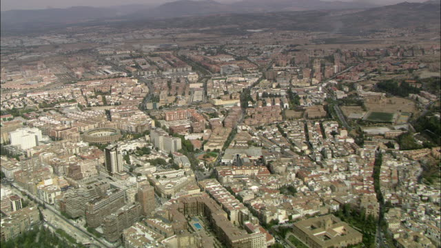 WS POV AERIAL View of downtown of Granada / Granada, Andalusia, Spain