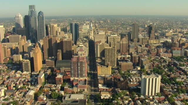 MS AERIAL TD TS View of downtown / Philadelphia, Pennsylvania, United States