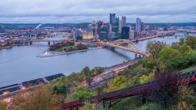 view of downtown pittsburgh from top of the duquesne incline, mount washington - pittsburgh video stock e b–roll