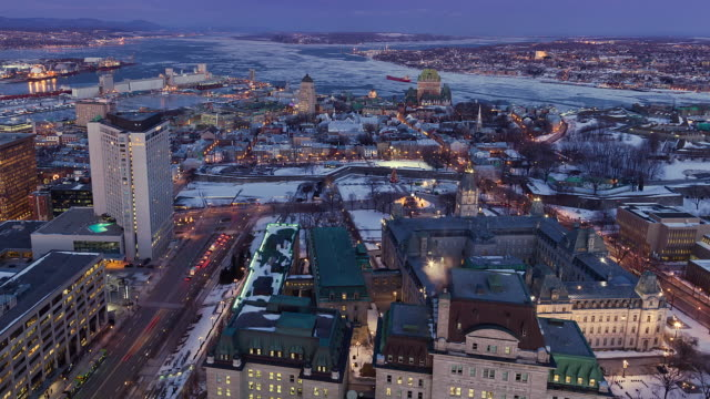 ws t/l view of downtown / quebec , canada - quebec stock videos and b-roll footage
