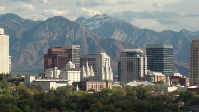 View of downtown Salt Lake City against the Wasatch Mountains