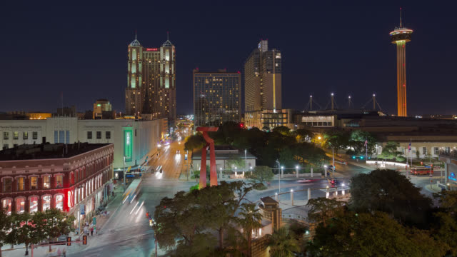 t/l view of downtown san antonio at night / san antonio, texas, usa - san antonio texas stock videos and b-roll footage