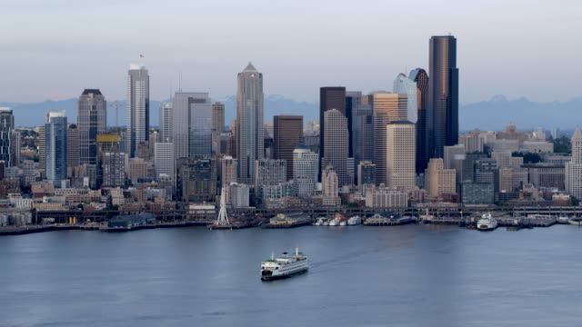 aerial view of downtown seattle in early morning from elliott bay - elliott bay stock videos & royalty-free footage