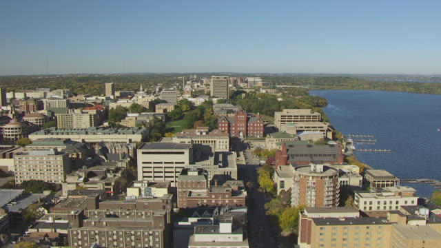 WS AERIAL DS View of downtown to front lawn and Bascom Hall / Madison, Wisconsin, United States