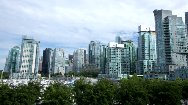ws t/l view of downtown vancouver by marina / cortes, british columbia, canada   - vancouver canada stock videos & royalty-free footage