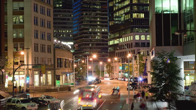 ws zo t/l view of downtown vancouver / vancouver, british columbia, canada   - vancouver stock-videos und b-roll-filmmaterial