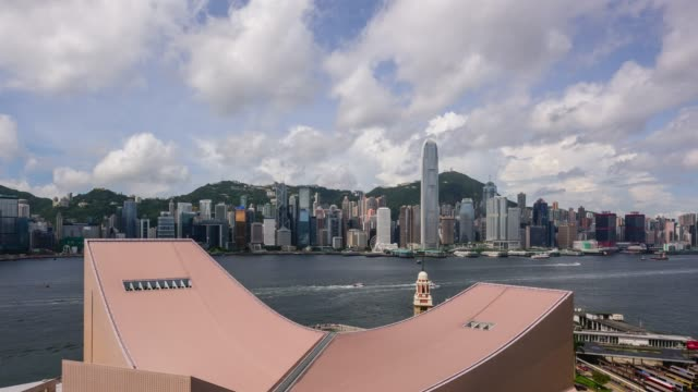 view of downtown with cloudscape in hong kong island, hong kong - complexity stock videos & royalty-free footage