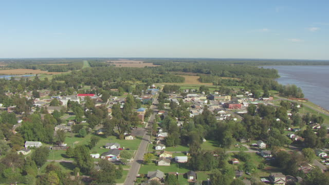 WS AERIAL View of downtown with Mississippi River in back side / New Madrid, Missouri, United States