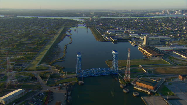 ws pov aerial view of drawbridge at florida ave along canal it intersects the mississippi river / new orleans, louisiana, usa - drawbridge stock videos and b-roll footage