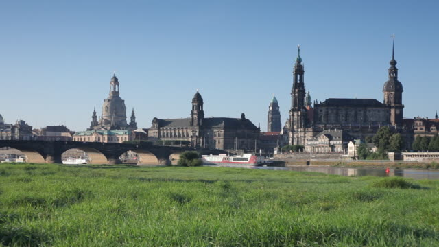 WS PAN View of Dresden skyline / Dresden, Saxony, Germany