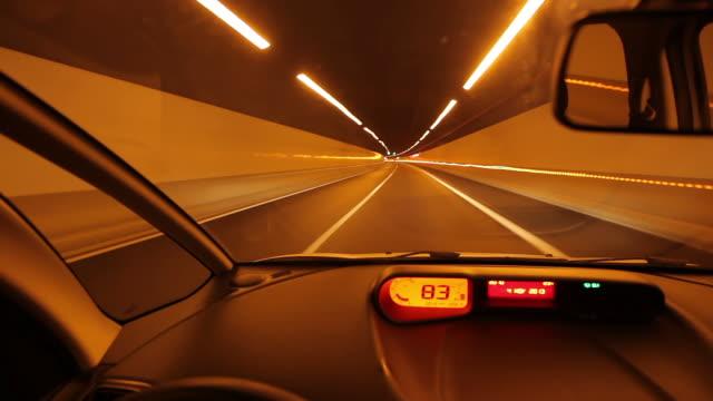 vidéos et rushes de ms pov t/l view of driving car at night / gran canaria canary islands, spain - compteur