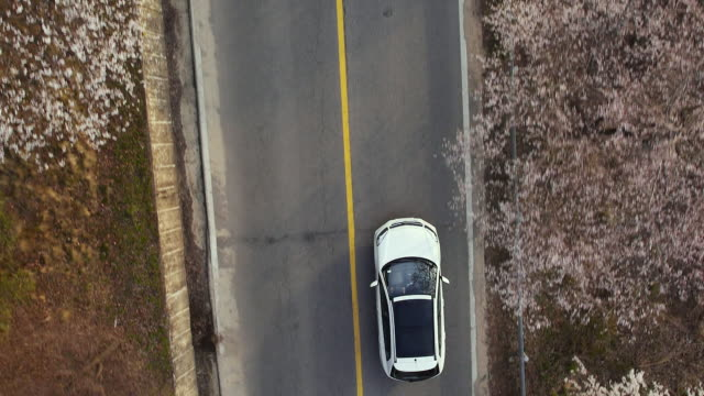 WS AERIAL TS ZO View of driving car on national highway near Seomjingang River / Gwangyang, Jeollanam-do, South Korea