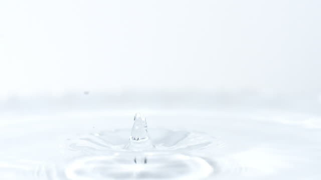 ms  slo mo view of droplet falling into water / vieux pont en auge, normandy, france - splash crown stock videos & royalty-free footage