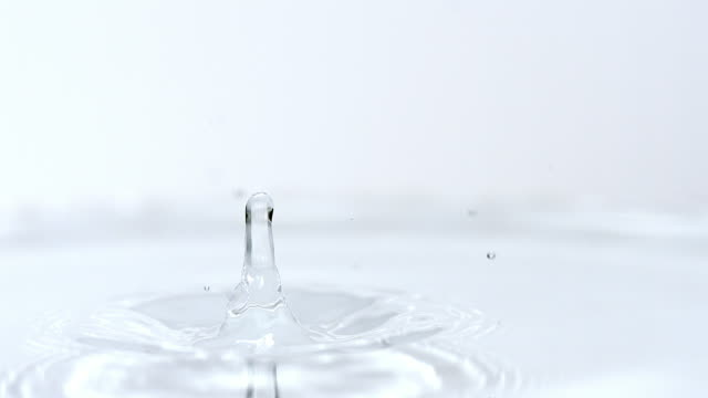 ms  slo mo view of droplet falling into water / vieux pont en auge, normandy, france - splashing droplet stock videos & royalty-free footage