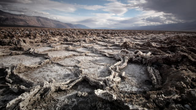 WS LA POV View of Dry Cracked Earth and Salt Flats / Death Valley NP, California, United States