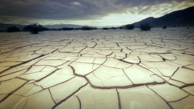 MS POV View of Dry Cracked Earth / Death Valley, California, United States