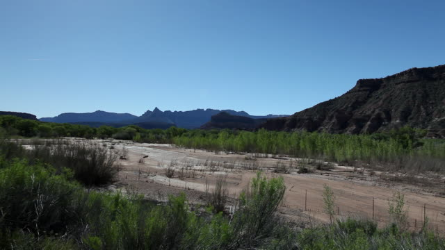 ws view of dry up sandy river / zion national park, utah, united states  - sandy utah stock videos and b-roll footage