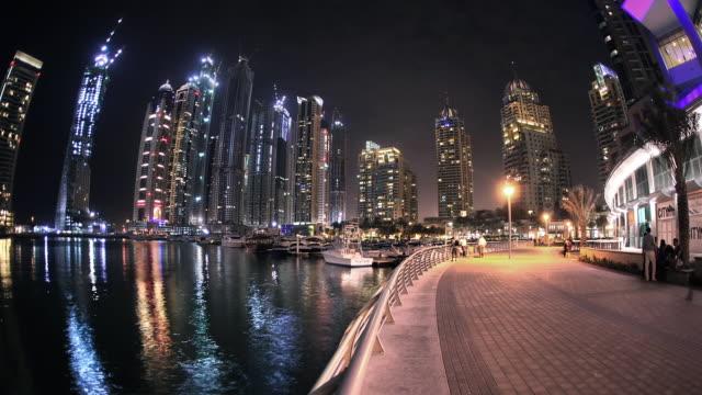 WS T/L View of Dubai Marina at night / Dubai, United Arab Emirates