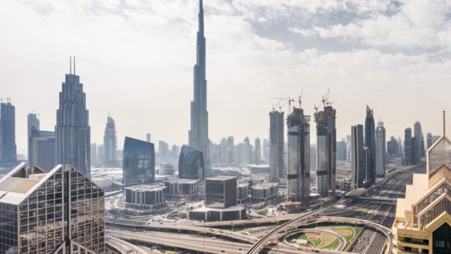 t/l ws ha td view of dubai skyline / dubai, uae - elevated road stock videos & royalty-free footage