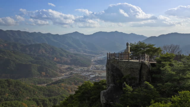 view of duddha stone sculpture at gwanryongsa temple in hwawangsan mountain(national treasure) - religiöse stätte stock-videos und b-roll-filmmaterial