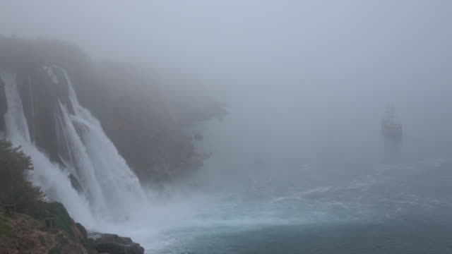 View Of Duden Waterfall In Fog