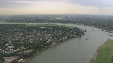 vidéos et rushes de aerial view of duisburg, north rhine-westphalia, germany - ruhr