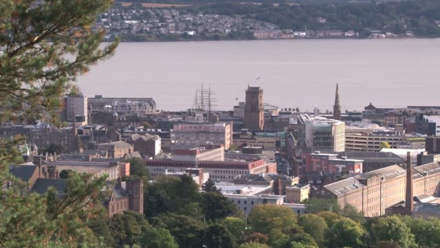 view of dundee city centre and waterfront with the masts of rrs discovery visible. dundee is the fourth largest city in scotland with a population of... - lorraine kelly stock videos & royalty-free footage