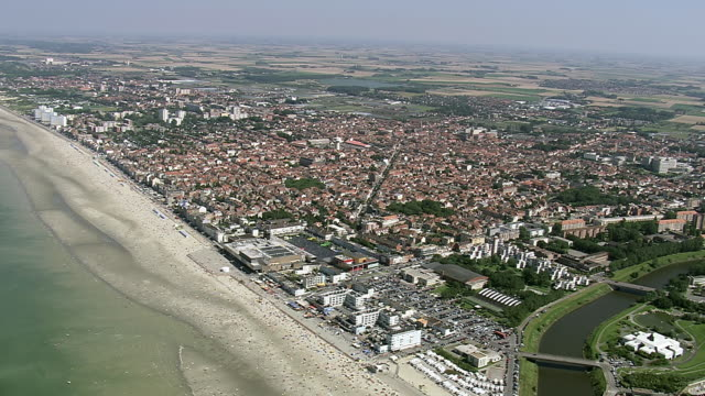WS AERIAL ZI ZO View of Dunkirk town / Pas-de-Calais, France