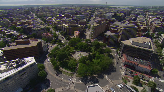 ws aerial view of dupont circle / washington, dist. of columbia, united states - dupont circle stock videos & royalty-free footage