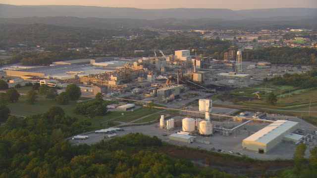 ws aerial view of dupont nylon manufacturing plant / chattanooga, tennessee, united states - nylon stock videos and b-roll footage