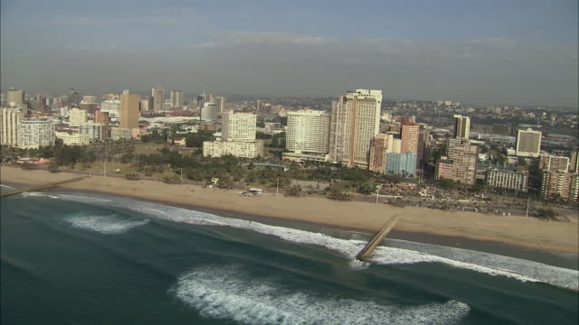 ws pan view of durban city centre and beachfront / durban, kwazulu-natal, south africa - durban stock videos and b-roll footage