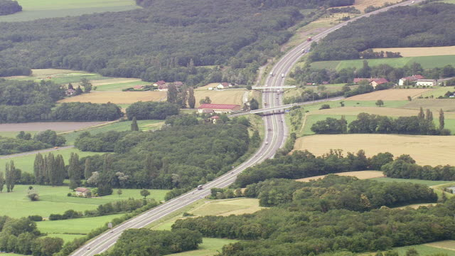 WS AERIAL View of E21 Motorway near Geneva (A40) / Rhone Alpes, France