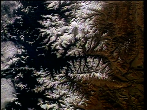 view of earth from space, over himalayas, mountains and lakes, sts-55 - mount everest stock-videos und b-roll-filmmaterial