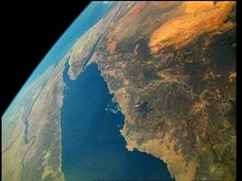 view of earth from space, over middle east and red sea, sts-57 - red sea stock videos & royalty-free footage
