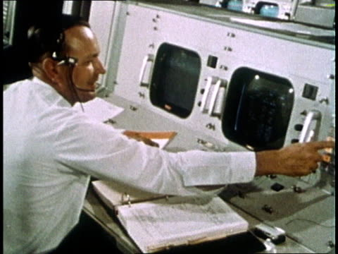 view of earth from spacecraft / nasa engineer christopher kraft at console in control room / satellite dish rotating - gemini 4 stock videos and b-roll footage