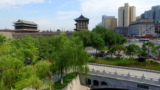 AERIAL View of East Gate of city wall and cityscape/ Xi'an, Shaanxi, China