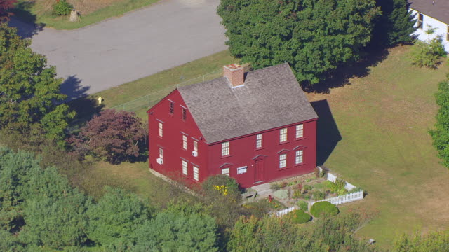 ws aerial pov view of ebenezer avery house/ groton, connecticut, united states - groton connecticut stock videos & royalty-free footage