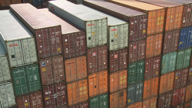 ms view of ect container terminal at harbour / rotterdam, southholland, netherlands - schiffsfracht stock-videos und b-roll-filmmaterial