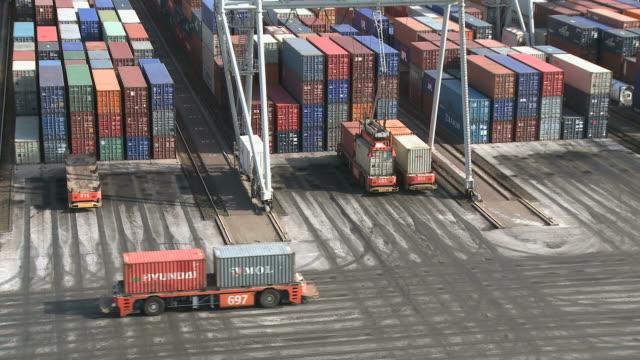 vídeos y material grabado en eventos de stock de ws view of ect container terminal at rotterdam harbour / rotterdam, southholland, netherlands - rotterdam
