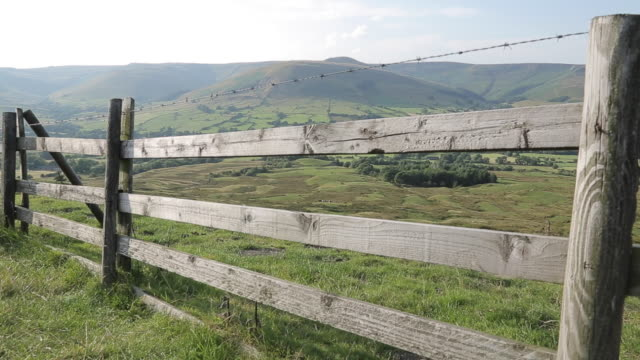 view of edale valley, derbyshire, england, uk, europe - 1985 stock videos & royalty-free footage